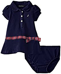 Nautica Baby Girls\' Pique Polo Dress with Gold Buttons, Navy, 12 Months
