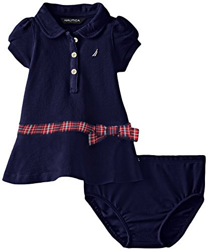 Nautica Baby Girls' Pique Polo Dress with Gold Buttons, Navy, 0-3 Months