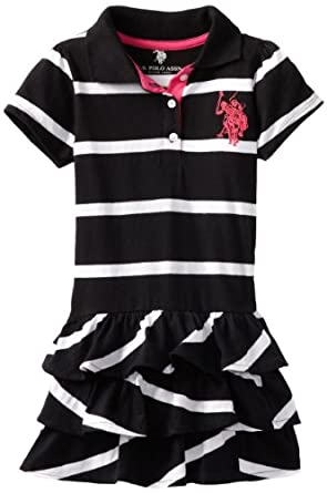U.S. Polo Assn. Girls 2-6X Striped Polo Dress, Black, 4