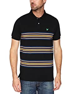 Lyle and Scott Green Eagle Men's Placed Stripe Polo - Black, Large