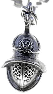Roman Gladiator Helmet Key Ring - Pewter