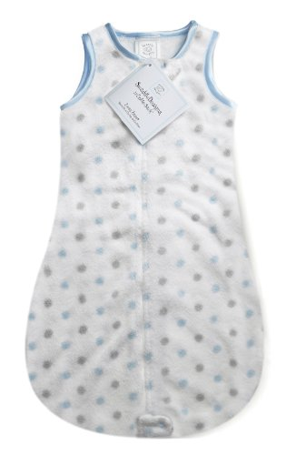 SwaddleDesigns zzZipMe Sack with 2-Way Zipper, Cozy Microplush Wearable Blanket, Sterling Little Dots in Pastel Blue 6-12 months