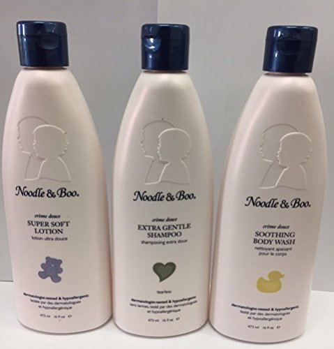 Noodle & Boo Set of Baby Super Soft Lotion, Extra Gentle Shampoo, and Soothing Body Wash - 16 oz Each - 1