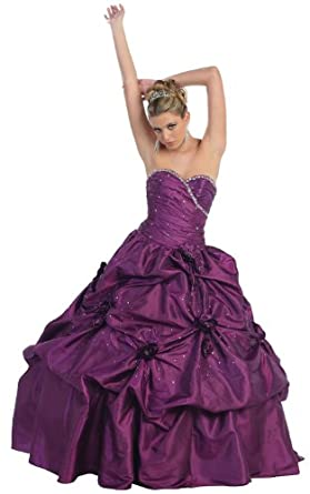 Ball Gown Formal Prom Wedding Floral Dress #32 (4, Purple)