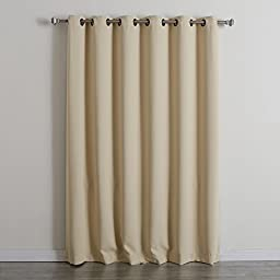 Best Home Fashion Wide Width Thermal Insulated Blackout Curtain - Antique Bronze Grommet Top - Beige - 80\