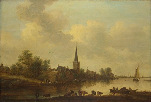 The Polyster Canvas Of Oil Painting 'Jan Van Goyen A River Landscape ' ,size: 30 X 44 Inch / 76 X 112 Cm ,this Beautiful Art Decorative Canvas Prints Is Fit For Kids Room Gallery Art And Home Gallery Art And Gifts (Caulk Finishing Tool Spatula compare prices)