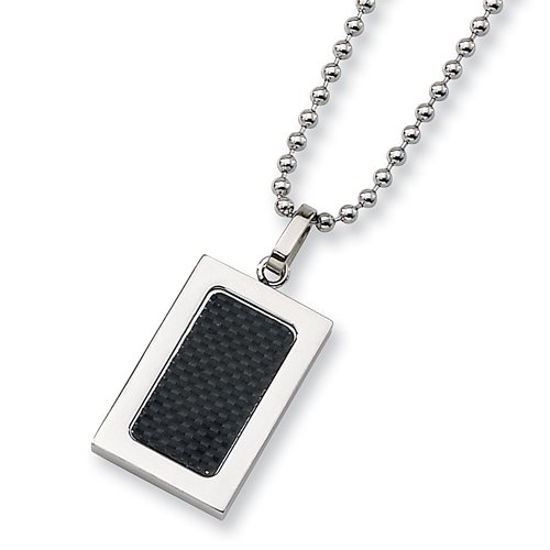 Chisel Stainless Steel Pendant with Black Carbon Fiber Inlay on 22 Inch Bead Chain