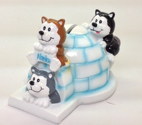 Alaska Igloo Playful Husky Dog Coin Bank Piggy Bank Ceramic - 1