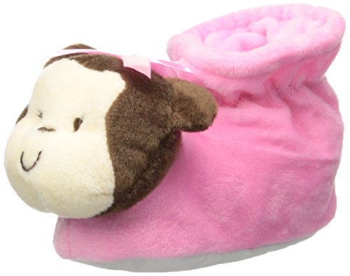 Little Me Baby Girls' Animal Slippers, Monkey, Pink, 6-12 Months