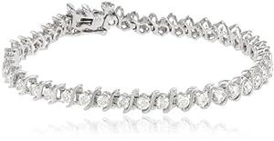 "IGI Certified 18k White Gold S-Link Diamond Tennis Bracelet (3.0 cttw, H-I Color, SI2-I1 Clarity), 7"""