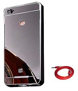 TBZ Metal Bumper Acrylic Mirror Back Cover Case for Xiaomi Redmi 3s Prime with AUX Cable -Black