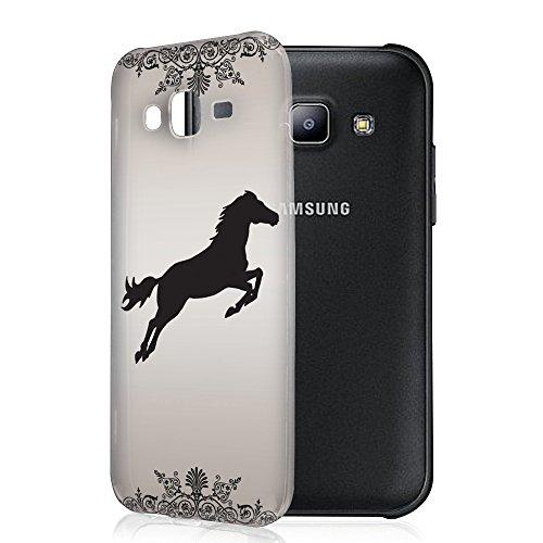 Jockey 10001, Springendes Pferd, Das Kristallklare Ultradünn Gel Crystal Silikon Handyhülle Schutzhülle Handyschale mit Farbig Design für Samsung Galaxy J5