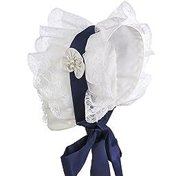 Hanakimi Lace Royal Baby Bonnet Handmade (Newborn - 3 Years) (M/12M, White)