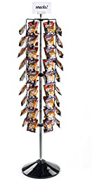 Displays2go Potato Chip Rack with Clip Strips, 108 Clips, Rotating (CCFR108BK)