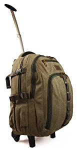 "High Quality Canvas Wheeled Backpack 20"" - 24"" Hand Luggage Holdall Travel Bag"