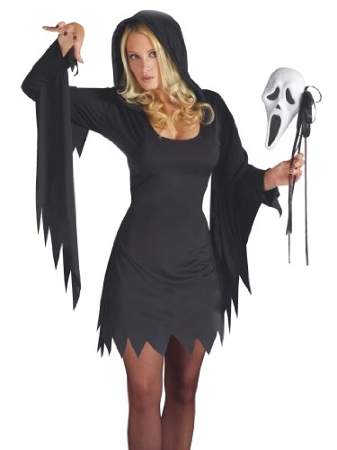 Black Witch Ghost Costume White Mask and Dress Womens Theatrical Costume