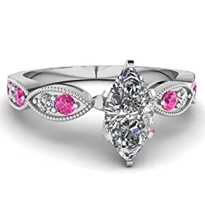 Fascinating Diamonds 1 Ct Marquise Cut Diamond & Pink Sapphire Engagement Ring E-Color 14K GIA