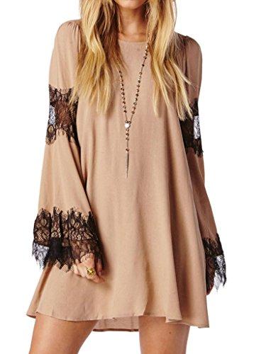 Choies Women's Lace Panel Flare Sleeve Draped Bacj Dress Party Mini Dress 10