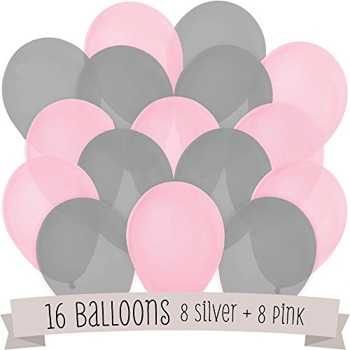 16 Pack of Latex Balloons (8 Pink & 8 Gray)