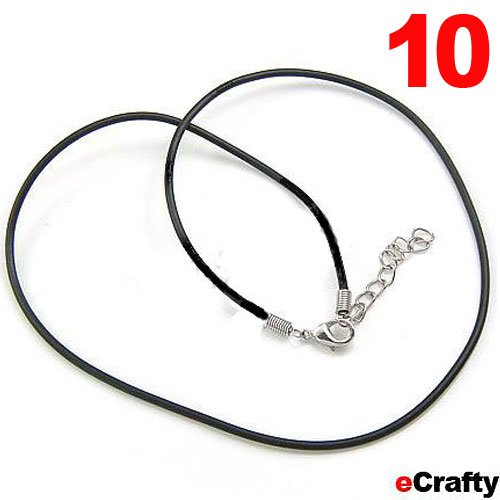 """10 Pack Black Leather Necklace Cords W/ Lobster Clasp 18"""" Diy Jewelry Making"""
