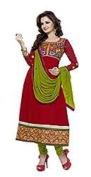 Abida Chiffon Maroon Color Unstrich Suit of Monika Bedi