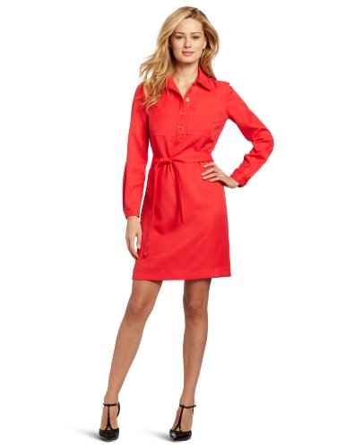 Nine West Dresses Women's Double Pocket Tie Shirt Dress, Coral, 4