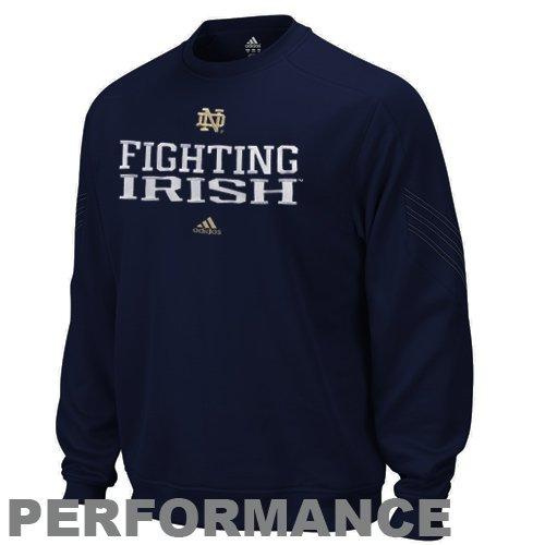 Notre Dame Fighting Irish Navy adidas Practice Stitch ClimaWarm Crewneck Sweatshirt