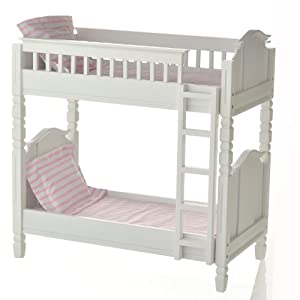 18 inch doll bunk bed with pink dot linens toys games. Black Bedroom Furniture Sets. Home Design Ideas