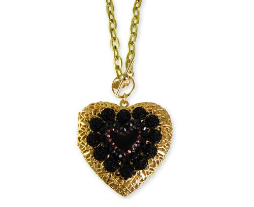 Tarina Tarantino Classic Heart Locket Necklace - Jet (FINAL SALE)