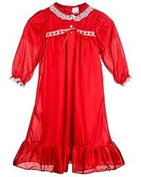 Laura Dare Big Girls Red Long Sleeve Traditional Peignoir Set, 12