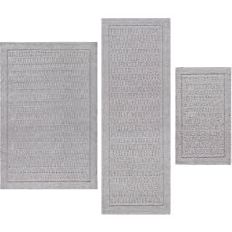 Mainstays Dylan Nylon 3-Piece Accent Rug Set, Silver