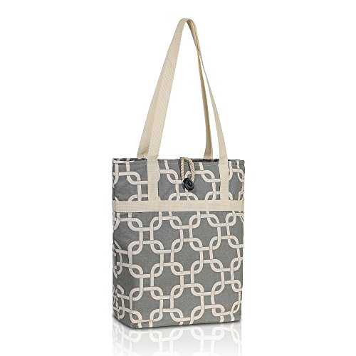 Kuzy – Gray Chain Travel Tote Bag Cotton Handmade 16-inch for MacBook and Laptop, Book Bags – Grey image