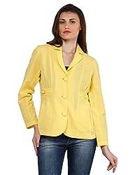 Oxolloxo Women Yellow Linen Blazer