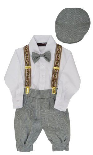 G284 Boys Vintage Knickers Outfit Suspenders (Large/12-18 Months, Silver) front-582448