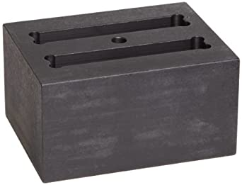 "Talboys 949112 Anodized Aluminum Cuvette Block, 2 Well, 3.75"" Length x 3"" Width x 2"" Height, For 12.5mm Cuvettes"