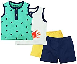 Sleeveless Front Open Tee With Short Pack Of 2 - Multi Coloured (6-9 Months)