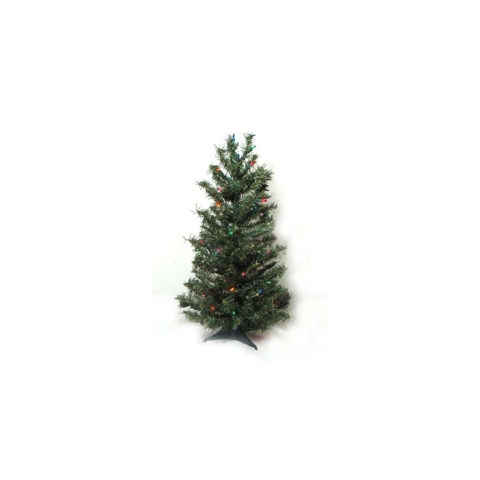 3 Pre Lit Canadian Pine Artificial Christmas Tree   Multi Lights
