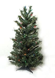 #!Cheap 3' Pre-Lit Canadian Pine Artificial Christmas Tree - Multi Lights