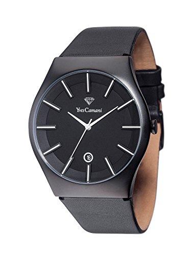 Yves LOANN visita Camani Unisex-reloj Negro/negro analógico de cuarzo de cuero YC1068-A