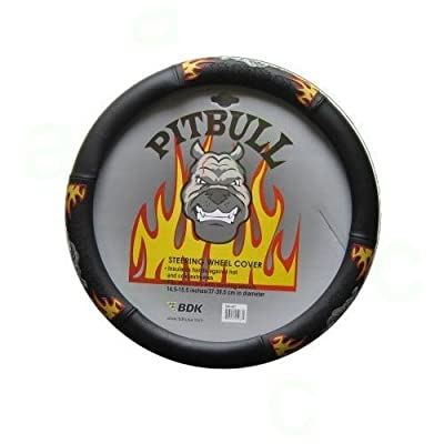 Simulated Leather Steering Wheel Cover With Embossed Design - Fire Raged Pit Bull Dog by BDK