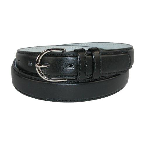 CTM® Womens Leather 1 1/8 Inch Basic Dress Belt, Medium, Black