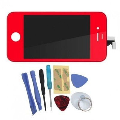 Binnbox Red Lcd Touch Screen Glass Digitizer Assembly Replacement For Iphone 4S Gsm + Back Cover Case + A Set Cracked Screen Repair Tools Kit