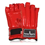Leather Cut Finger Gloves Punch Bag mitt kick Boxing mitts glove Bag gloves Exercise Equipment Red Extra Large