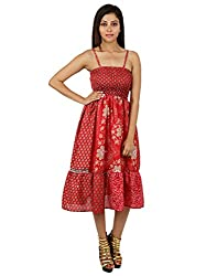 Indian Polyester Floral Dress Red Printed Medium For Girl's By Rajrang