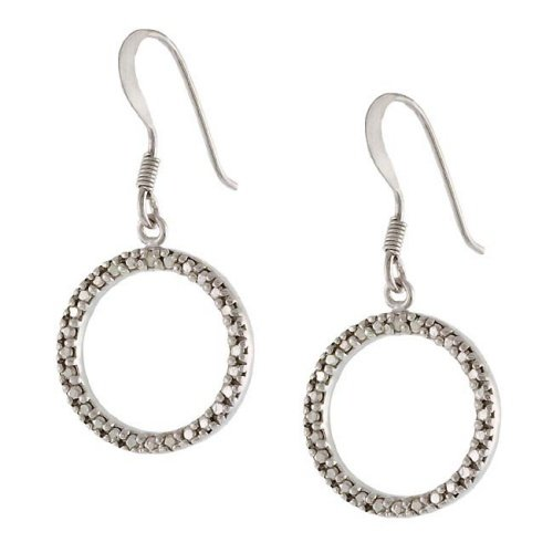 Sterling Silver Diamond Accent Open Circle Dangle Earrings