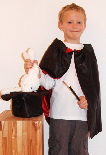 Complete Child Magician Costume set with Cape, Hat, Rabbit & Magic Wand. How magic is that?