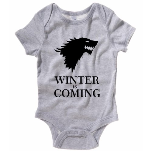 Winter Is Coming Baby One Piece Game Of Thrones Creeper Romper (0M-Newborn, Heather Gray) front-902406