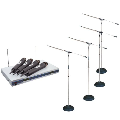 Pyle Mic And Stand Package - Pdwm5500 4 Mic Vhf Wireless Microphone System - 4X Pmks9 Four Heavy Duty Compact Base Boom Microphone Stand
