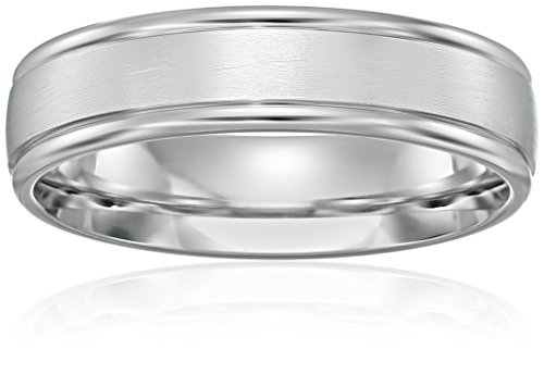 Men's Platinum Comfort-Fit Wedding Band with High-Polish Round Edges with Satin Center, 6 mm
