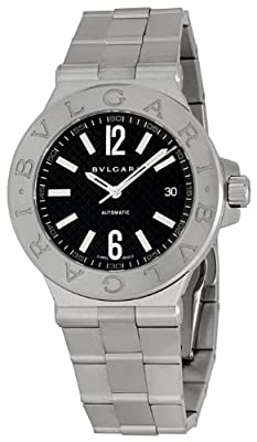 Bvlgari Men's BVLDG40BSSD Diagono Black Dial Watch